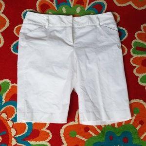 White Dana Buchanon cotton spandex Bermuda shorts